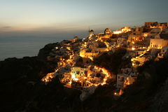 Glowing Greek Village Stock Photography
