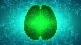 Glowing green brain wired on neural surface or electronic conductors stock footage