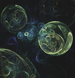 Glowing green bubbles in space computer generated abstract  Stock Photo
