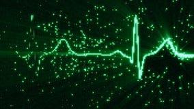 Glowing green EKG electrocardiogram waveform on monitor Stock Photos