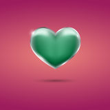 Glowing green heart with frame on pink background. Eps10 Royalty Free Stock Photo