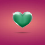 Glowing green heart on pink background. Eps10 Stock Images