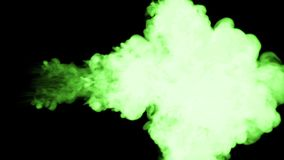 Glowing green ink inject in water on black background. 3d animation with luma matte as alpha channel in slow motion. Use. For ink effect, transition or stock footage