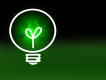 Eco Green Energy Concept Illustration. Glowing green light bulb with growing leaves against faded black to green background.  Renewable energy and ecology Stock Images