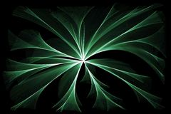 Glowing green lights. Abstract glowing green lights on black background stock illustration