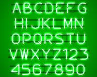 Glowing Green Neon Alphabet. Stock Photography