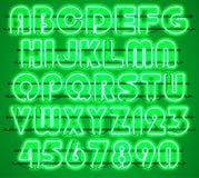 Glowing Green Neon Alphabet. Royalty Free Stock Image