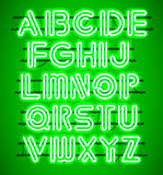 Glowing Green Neon Alphabet. Royalty Free Stock Photography