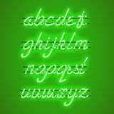 Glowing Green Neon Lowercase Script Font. Glowing Green Neon Script Font with lowercase letters from A to Z with wires, tubes, brackets and holders. Shining and Stock Photography