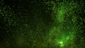 Glowing green particles abstract background rendered with DOF an stock illustration