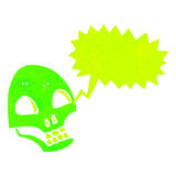 Glowing green skull retro cartoon with speech bubble Stock Images