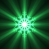 Glowing Green Snowflake Stock Photo