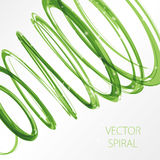 Glowing green spiral on white background. Nature colors abstract light hi tech concept Stock Photos