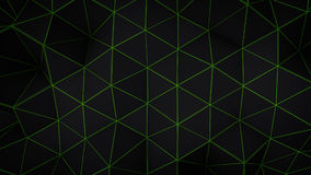 Glowing green triangle polygons background Stock Photo