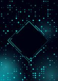 Glowing halftone rhombus shiny blue design for club, party, show invitation. Abstract neon lights background for your design royalty free illustration