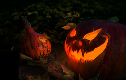Glowing Halloween Jack O' Lantern pumpkin Stock Photos