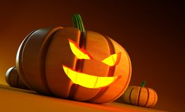 Glowing halloween pumpkin Royalty Free Stock Image