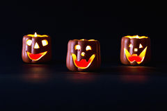 Glowing Halloween pumpkin Stock Images