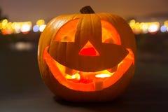 Glowing Halloween pumpkin. Halloween pumpkin glowing in the dark Stock Photos