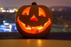 Glowing Halloween pumpkin. Halloween pumpkin glowing in the dark Stock Image