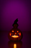 Glowing halloween pumpkin lantern Stock Photos