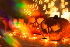 Glowing Halloween pumpkin lanterns Royalty Free Stock Photos