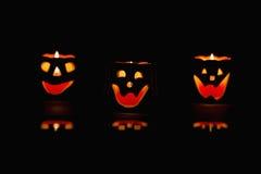 Glowing Halloween pumpkins Royalty Free Stock Image