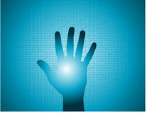 Glowing hand. A glowing hand on a digital binary background. Available in vector format vector illustration
