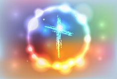 Glowing Hand Drawn Cross Illustration Royalty Free Stock Photo