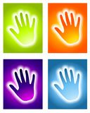Glowing Handprint Aura Backgrounds. An illustration featuring your choice of 4 colourful glowing handprint aura backgrounds stock illustration