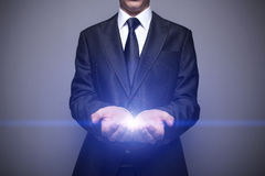 Glowing Hands. Futuristic business concept glowing hands Stock Photography