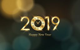 Glowing Happy new year 2019 and clock with abstract bokeh and lens flare pattern in vintage color style background. Glowing Happy new year 2019 and clock with vector illustration