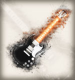 Glowing hard rock guitar drawing Stock Photography
