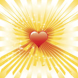 Glowing heart. Vector illustration of heart with sunburst royalty free illustration