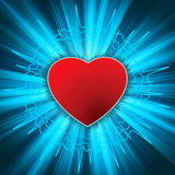 Glowing Heart with heartbeat. Stock Photos