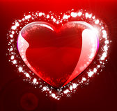 Glowing heart on red background Royalty Free Stock Image