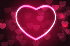 Glowing heart shape. With bokeh lights Stock Photography