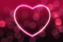 Glowing heart shape. With bokeh lights Royalty Free Stock Photo