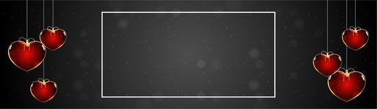 Glowing heart shapes hanging on black background. Glowing heart shapes hanging on black background with space for your text. Valentine`s Day header or banner royalty free illustration
