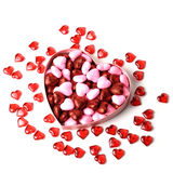 Glowing heart with shiny dots in the box in the form of on white background Stock Photography