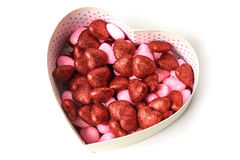 Glowing heart with shiny dots in the box in the form of on white background Royalty Free Stock Photography