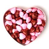Glowing heart with shiny dots in the box in the form of on white background Royalty Free Stock Images