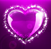 Glowing heart on violet background Royalty Free Stock Image