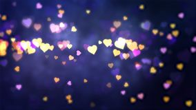 Glowing hearts appear on the shining background. Valentines Day holiday abstract loop animation. royalty free illustration
