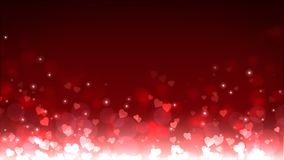 Glowing hearts appear on the shining background. Valentines Day holiday abstract loop animation. vector illustration