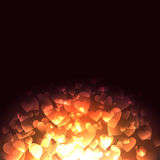 Glowing Hearts. Background with falling bokeh hearts Vector Illustration