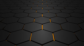 Glowing hexagon floor. Abstract background made by hexagons with glowing ground Royalty Free Stock Photos