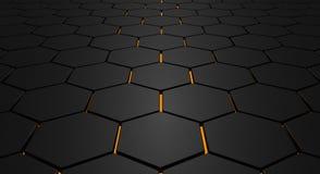 Glowing hexagon floor Royalty Free Stock Photos