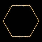 Glowing hexagon frame Royalty Free Stock Photo