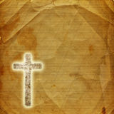 Glowing holy cross on  paper background Stock Photography